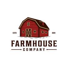 Farmhouse,warehouse / Barn Vintage Logo Design. Countryside Hand Drawn Logo