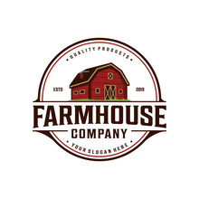 Farmhouse,warehouse / Barn Vintage Logo Design. Countryside Hand Drawn Logo