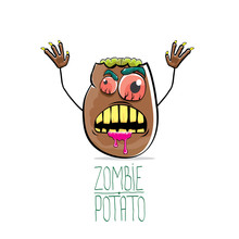 Vector Funny Cartoon Cute Brown Zombie Potato Isolated On White Background. Halloween Monster Vegetable Funky Character