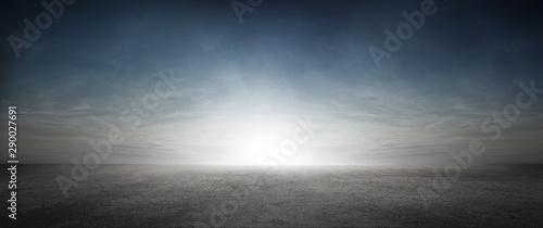 Fotografia, Obraz Empty Floor Background Panoramic Scene with Stunning Sky