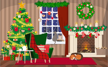 Christmas Living Room Interior With Window, Christmas Tree, Gifts And Fireplace. Vector Illustration In A Flat Style.