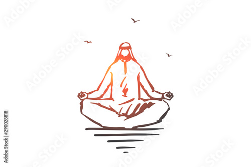 Photo Concentration, yoga, meditation concept sketch