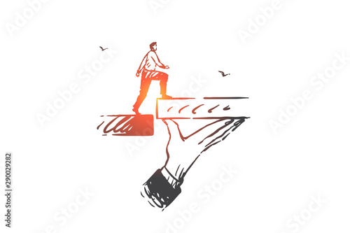 Fotografiet Business support, help concept sketch. Hand drawn isolated vector