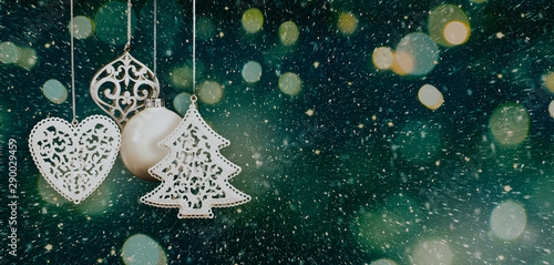 Christmas background with baubles and lights