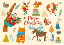 Cute Winter Wild Animals And Floral Elements. Ideas For Postcards And Posters. Vector Illustrations. Merry Christmas Card.