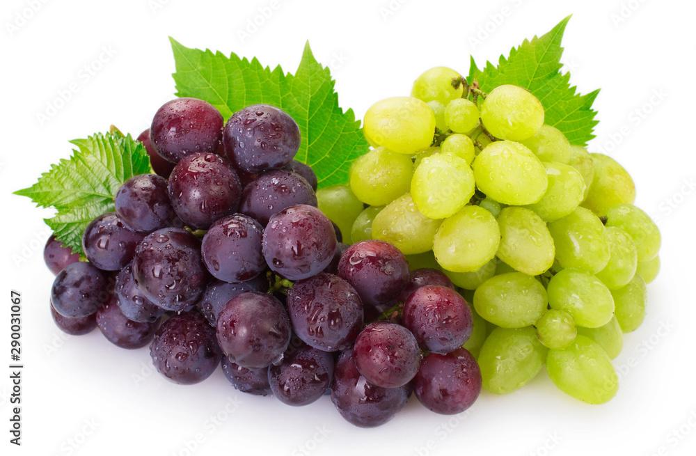 Fototapeta Fresh grape on white background