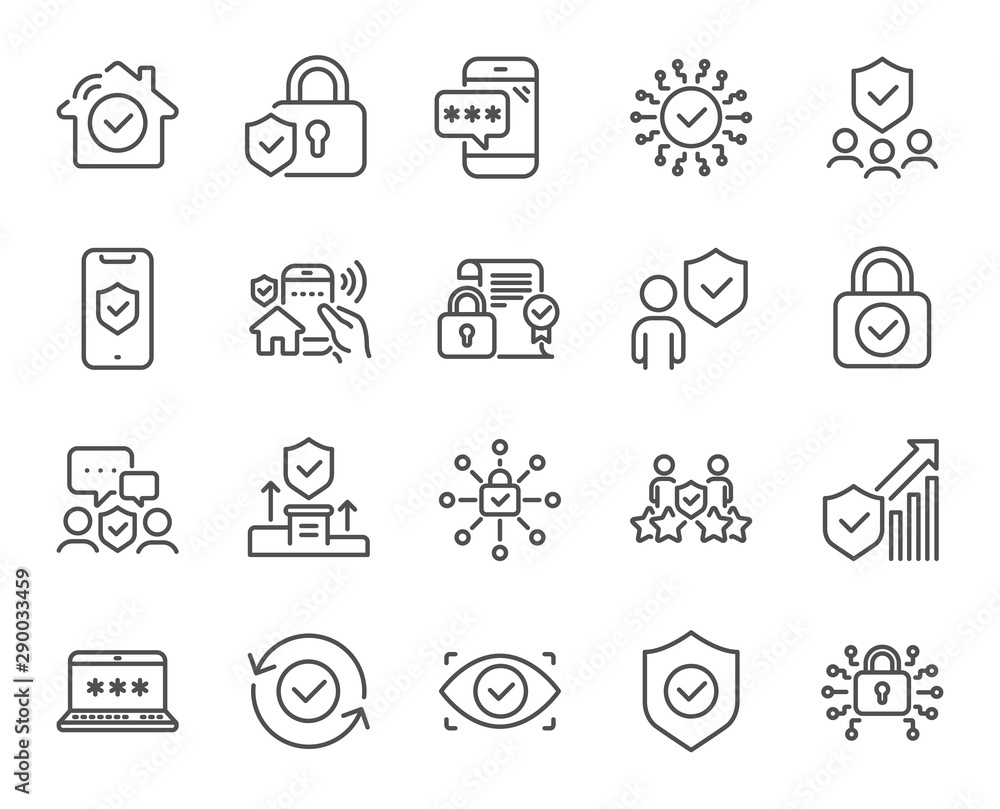 Fototapeta Security line icons. Cyber lock, password, unlock. Guard, shield, home security system icons. Eye access, electronic check, firewall. Internet protection, laptop password. Vector