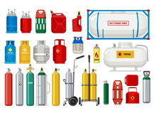 Propane Tanks. Gas Safety Ballons Dangerous Oxygen Or Propane Vector Illustrations. Oxygen And Propane, Gas Cylinder With Valve