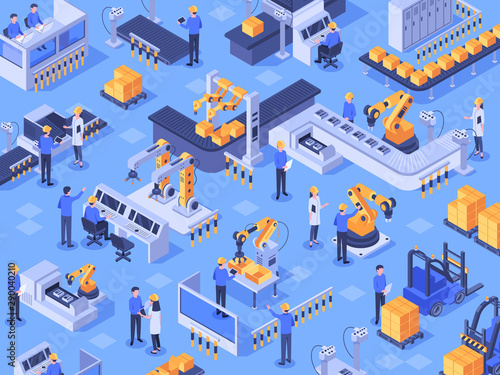 Photo Isometric smart industrial factory