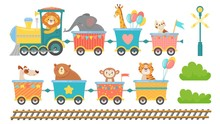 Cute Animals On Train. Happy Animal In Railroad Car, Little Pets Ride On Toy Locomotive. Elephant, Giraffe And Monkey In Transportation Train Cartoon Isolated Vector Illustration Set