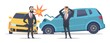 Car accident. Damaged autos angry scared men. Businessmen vector character and crashed cars. Automobile damage and crash on road accident illustration