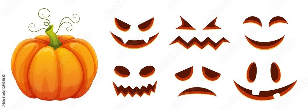 Fototapeta Halloween pumpkin faces generator. Vector cartoon pumpkin with scared and smiley faces. Illustration halloween scared face, pumpkin smiley