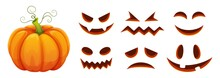 Halloween Pumpkin Faces Generator. Vector Cartoon Pumpkin With Scared And Smiley Faces. Illustration Halloween Scared Face, Pumpkin Smiley