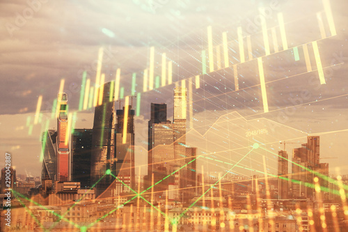 Fototapeten New York Double exposure of financial graph on downtown veiw background. Concept of stock market research and analysis