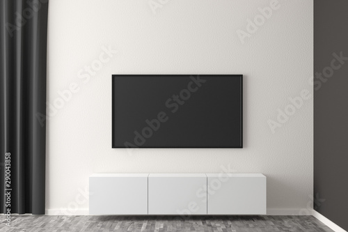 Fotografie, Tablou  Flat smart tv panel on white wall with white sideboard and brown wooden floor -