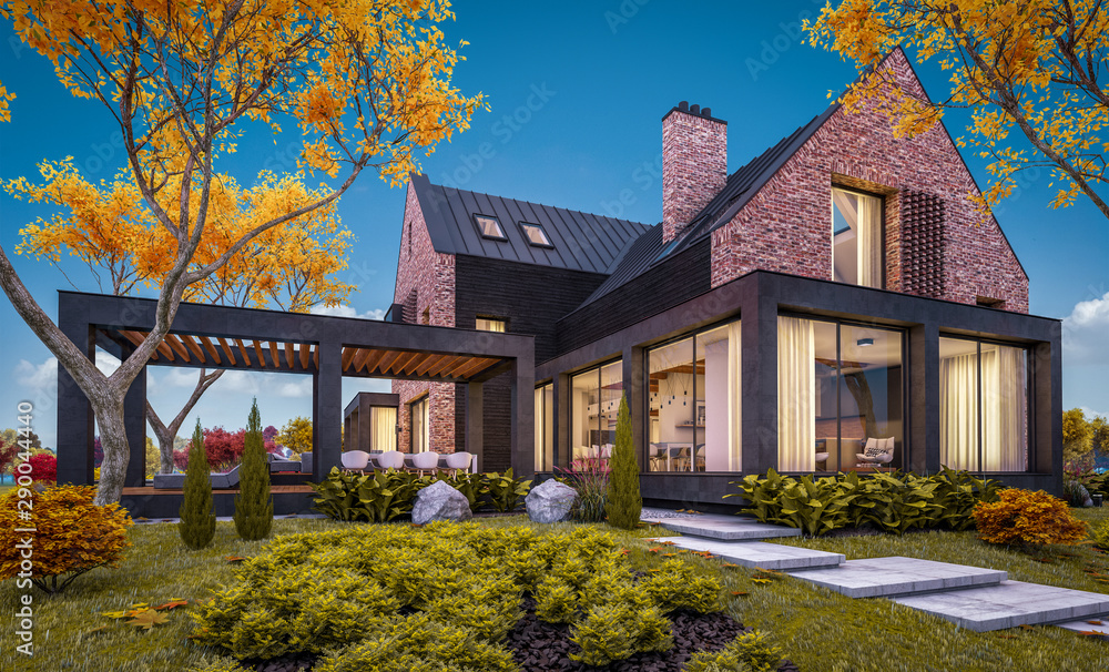 Fototapety, obrazy: 3d rendering of modern cozy clinker house on the ponds with garage and pool for sale or rent with beautiful landscaping on background. Soft autumn evening with golden leafs anywhere.