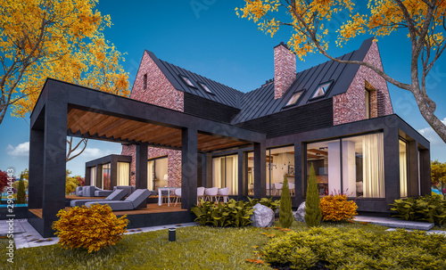 3d rendering of modern cozy clinker house on the ponds with garage and pool for sale or rent with beautiful landscaping on background. Soft autumn evening with golden leafs anywhere. - 290044443