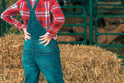 Female farmer posing on goat farm Fototapet