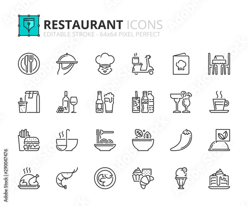Fototapeta Outline icons about restaurant obraz