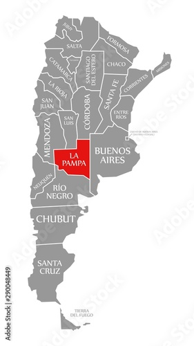 La Pampa red highlighted in map of Argentina – kaufen Sie ...