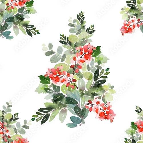 Obraz na plátně  Seamless watercolor Christmas pattern with berries and spruce