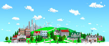 Blue Sky Hill Town By 3D Rendering