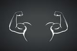 biceps hands silhouette on dark