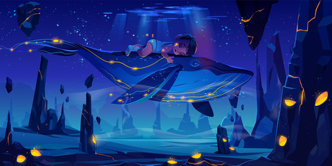 Fantasy child dream, fairy tale background with little baby sleeping on huge whale flying in night neon sky over phantasmagoric alien planet surface with rocks and craters Cartoon vector illustration