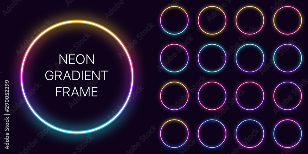 Fototapety, obrazy: Neon gradient circle Frame with copy space. Templates set of Neon gradient round Border