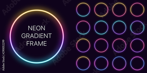 Neon gradient circle Frame with copy space. Templates set of Neon gradient round Border