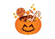 Cute Halloween Pumpkin With Ca...