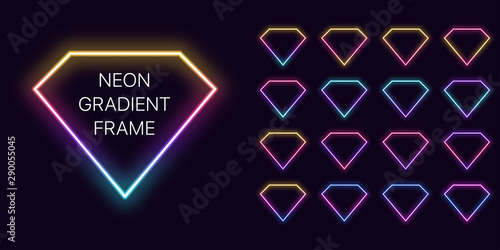 Photo Neon gradient diamond Frame with copy space
