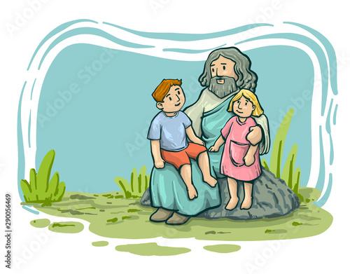 Fotografie, Obraz Jesus Christ with children, Messiah symbol of Christianity hand drawn vector