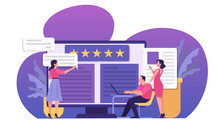 Online Review Concept. People Leave Feedback, Good And Bad