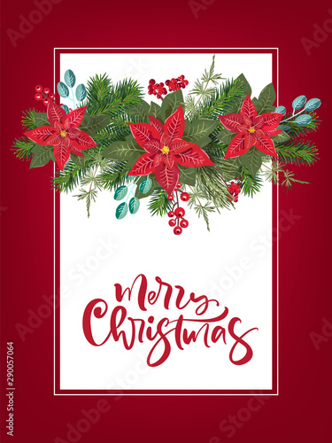 Fototapeta Merry Christmas Party Invitation And Happy New Year Party Invitation Card And Poster Holiday Design Template Christmas Decoration Fir Tree