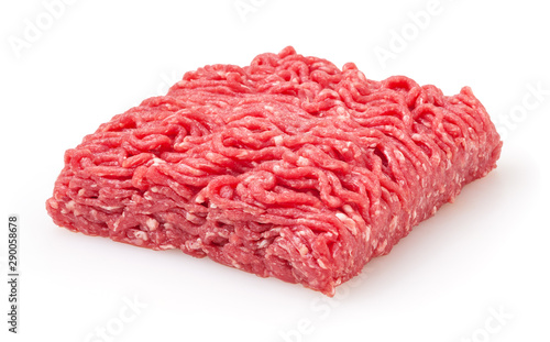Fototapeta Fresh raw beef minced meat isolated on white background obraz