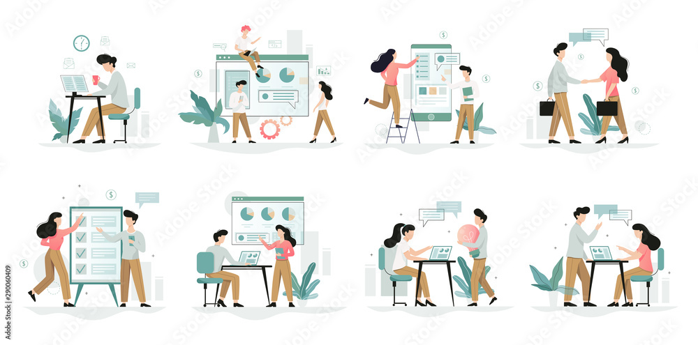 Fototapety, obrazy: Business people character set. Person in suit
