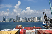 Large Cargo Container Ship Entering Port Of Miami. View From The Navigation Bridge.