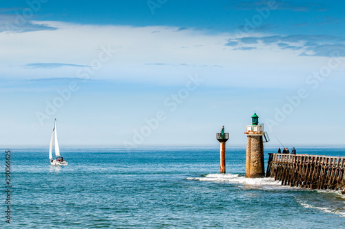 Capbreton, wooden jetty with lighthouse Canvas Print