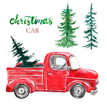 Watercolor Red Christmas Truck With Pine Tree, Isolated On White Background. Hand Painted Abstract Retro Car And Coniferous Evergreen Trees. Decorative Elements, Symbols Of Winter Holidays.