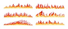 Fire Borders On White. Cartoon...