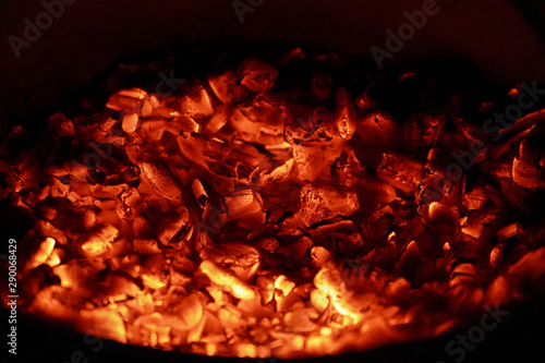 Red hot embers burning