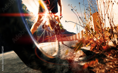 Fototapety, obrazy: Extreme sports and adventure..Mountain bike and adventure man in action.Healthy life style in outdoor