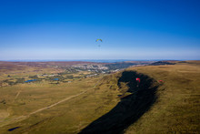 Aerial View Above Single Paragliders In Brecon Beacons Wales, Paragliding Off The Blaenavon Mountains