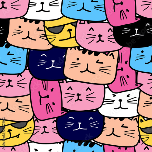 Fotografie, Obraz Cute cat seamless pattern background. Vector illustration.