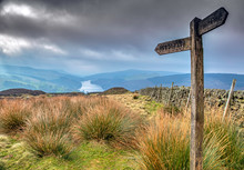 Wooden Sign On The Moors In Yorkshire