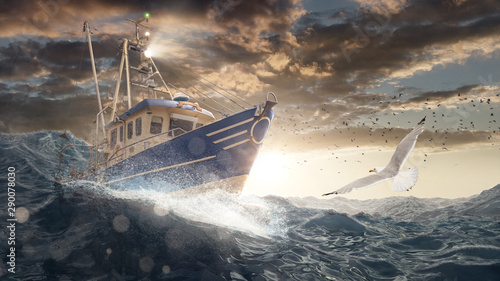 Wall Murals North Sea Fischerboot auf rauer See