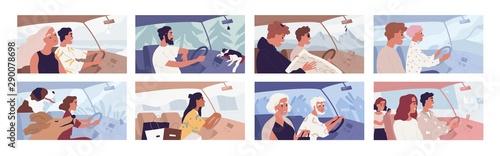 Photo People driving car flat vector illustrations set