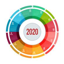 Colorful Round Calendar 2020 D...