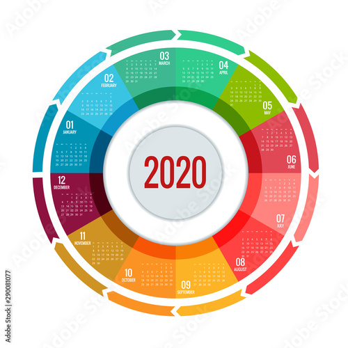 Tela  Colorful round calendar 2020 design, Print Template, Your Logo and Text
